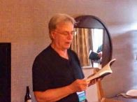 Larry reading at his Launch